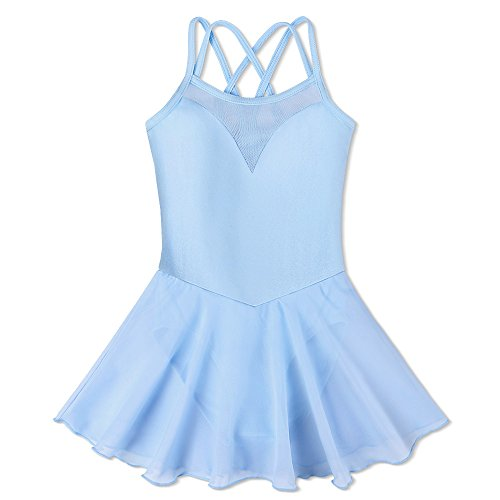 ZNYUNE Mädchen Ballettkleid Ballettanzug Kinder Tanzkleid Chiffon Ballettbody Leotard Chiffonrock Balletttrikot 5 6 ()