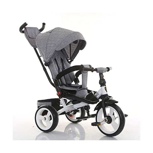 Pushchairs Baby Kids Children Tricycle Ride-on 3 Wheels Safe for Children with Sun Canopy,Back Storage and Non-Slip Handle Prams (Color : C)  Features assembled canopies without worrying about rain and sunshine. Safety features and safety belts are provided for safety. The pedal can be folded for more convenient use: the pedal can be folded to make travel more convenient. Upgrade the thickened sponge pillow to protect the baby's head and make the baby ride safer. 1