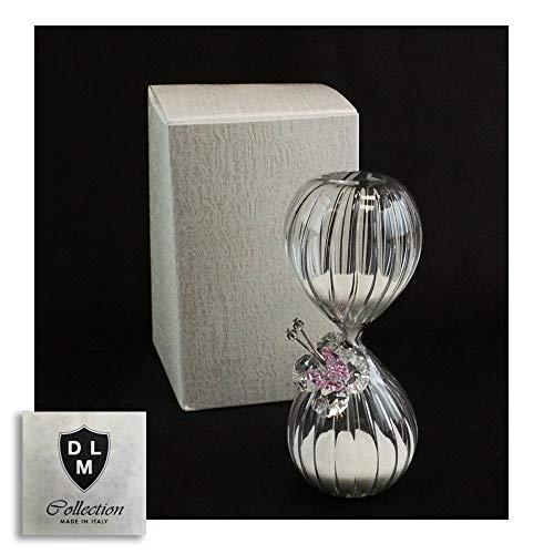 Dlm-29584-rosa (kit 6 pezzi) clessidra in vetro con farfalla in cristallo tema tempo per matrimonio comunione cresima_rosa bomboniera