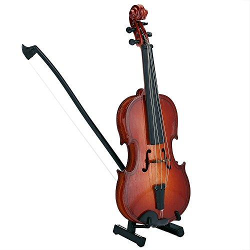 Fdit esposizione di modello di mini violino in legno con supporto per arco e astuccio per decorazioni musicali per la decorazione di articoli per ufficio