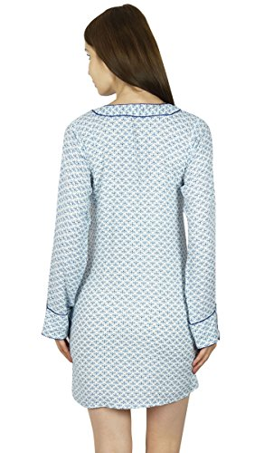 Bimba Bouton femme manches longues Chemise sommeil Nuit Blanche / Lounge Wear Blanc
