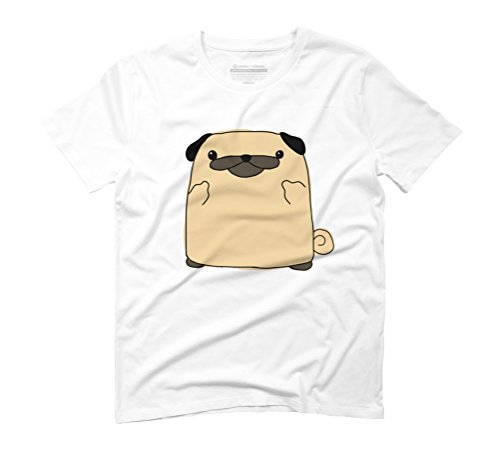 Cute Pug Says Hi Men's Graphic T-Shirt - Design By Humans White