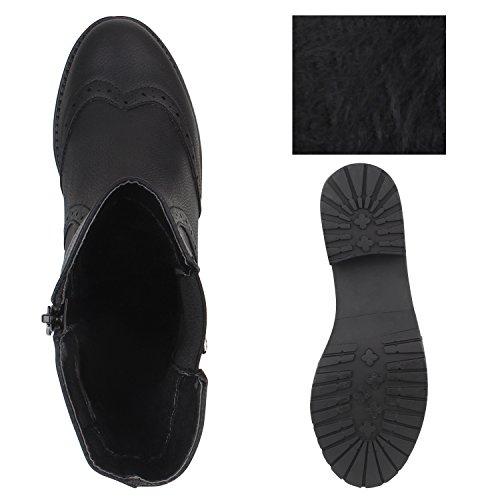 Damen Stiefeletten Chelsea Boots Stiefel Lederoptik Schuhe Schwarz