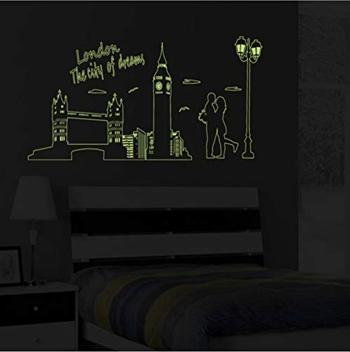 Luminous Stickers London Bridge Big Ben City Street Lights Love Quote Wall Sticker Illuminated Glowing In The Dark 60 * 90 Cm - London Street Lights