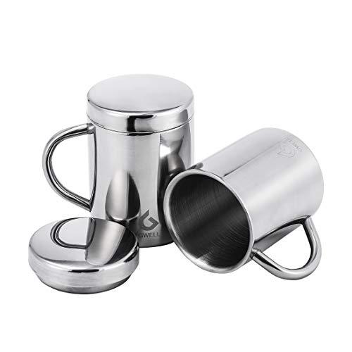 GWELL 2 Stück Edelstahl Kaffeebecher Becher mit Handgriff und Deckel 210ml 260ml 400ml Doppelwandiger Isolierbecher Kaffeetasse Thermobecher Edelstahlbecher Edelstahl Tasse (400ml)