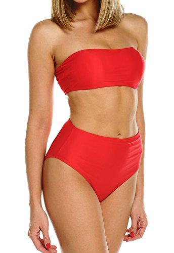 FITTOO Bikini Donna Vita Alta Due Pezzi Costume da Bagno Intero Sexy Push up, Rosso, S