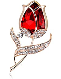 SANWOOD® Damen Mode Strass Glas Tulpe-Blumen Design Brosche Pin Hochzeitsfest Schmuck Geschenk
