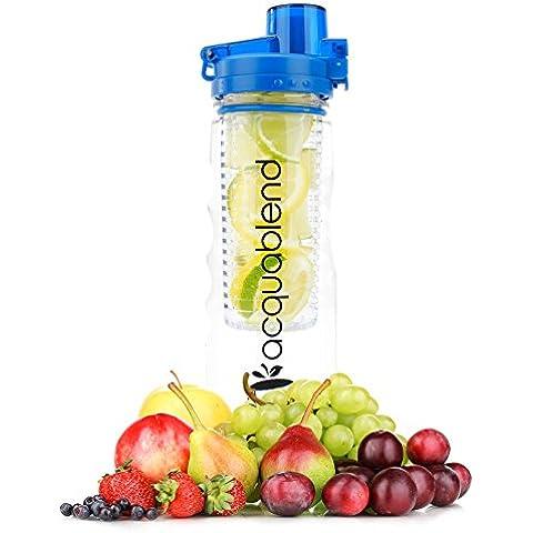 Acquablend Bottiglia per Acqua da 750 ml Premium Flip Top on Infusore di Frutta. Crea Naturalmente la Tua Acqua Aromatizzata alla Frutta, Succhi, Tè Freddo & Bevande Gassate. Ideale per Casa e Ufficio - Blu