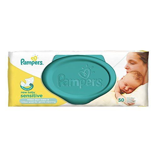 Pampers Feuchte Tücher New Baby Sensitive, 4er Pack (4 x 50 Stück)