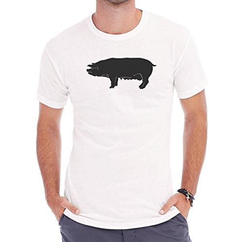 Pig Animal Farm Hog Shadow Herren T-Shirt Weiß