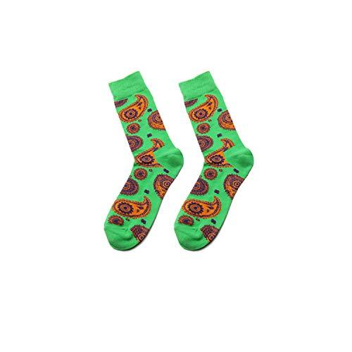 gthytjhv Crew Socken, Kleidersocken Packung, New Winter Men Novelty Colorful Cartoon Cashew FLOWER Pattern Cotton Socks High Quality Fashion Hip Hop Skateboard Socks green EU38-46 US7-12