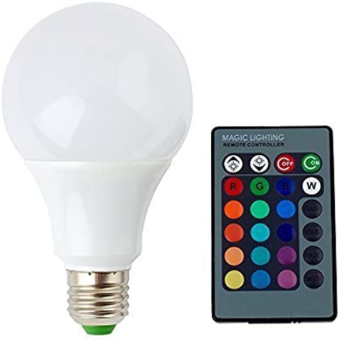 DUMVOIN E27 9W RGB 16 Colores Cambiantes Lámpara Bombilla Bulbo LED AC 85-265V con 24 Teclas IR Remote Control para Iluminación Decoración