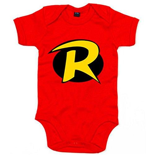 Body bebé Robin logo Batman y Robin - Rojo, 6-12 meses