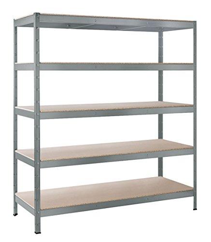 Boden-regale (Schulte Schwerlast-Steckregal XXL-Regal Metall, 180x160x60 cm, Traglast 1000 kg, 5 Holz-Böden, verzinkt, Stecksystem ohne Schrauben)