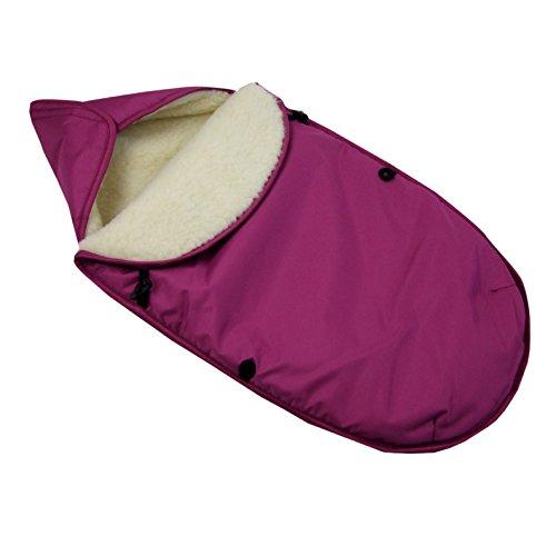 Preisvergleich Produktbild BAMBINIWELT universaler Winterfußsack für Babyschale (z.B: Maxi-Cosi) oder Kinderwagen, aus Wolle UNI AUBERGINE