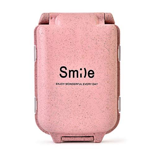 Wawer Smile Pillendose mit 8 Fächer, Mini-Droge Box Fach Stroh Tablet Medikamenten Storage Box Woche Reisetabletten und Droge verpackt Vitamin Aufbewahrungsbox (Rosa)