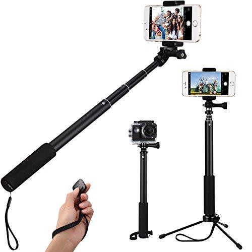 Perche Selfie, LiSmile Selfie Stick Bluetooth sans fil Perche Gopro Trépied Extensible Bâton de Selfie avec télécommande Monopode professionnel pour iPhone, Android Smartphones et Gopro Caméra