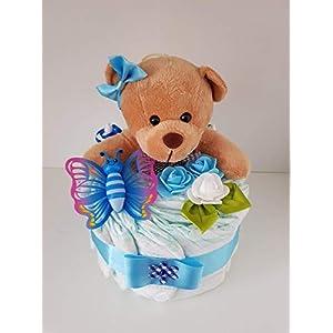 Windeltorte blau, Geschenk zum Geburt, Taufe, Babyparty Junge, Windeln