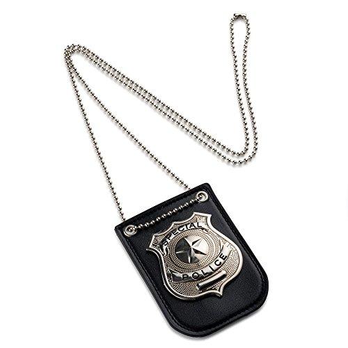 uschen Sie Polizeiabzeichen mit Kette und Gürtelclip vor (Fbi Agent Kostüm Für Kinder)