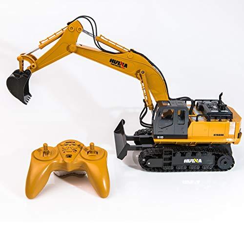 Haunen 11-CH 1:16 RC Bagger Baustellen-Fahrzeug Bagger Ferngesteuert mit Funktionstüchtigem Baggerarm und Schiebeschild Baustellen Spielfahrzeug für Kinder