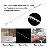 creatspaceE Nylon Strohreiniger Reinigungsbürste für Trinkrohr Rohrreiniger Edelstahl Baby Trinkflasche Reinigung Werkzeug weiß