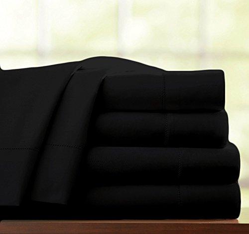 Bettlaken, 100% ägyptische Baumwolle, Fadenzahl 400,Hotelqualität, Ägyptische Baumwolle, schwarz, Doppelbett -