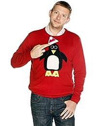 Woolly Babs Men's Christmas Jumper Pablo Penguin Roundneck
