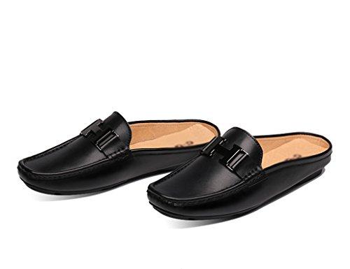 Scarpe Uomo in Pelle Sandali Pantofole per uomo estate Scarpe mezza pisello Scarpe casual traspiranti ( Colore : Nero , dimensioni : EU38/UK5.5 ) Nero