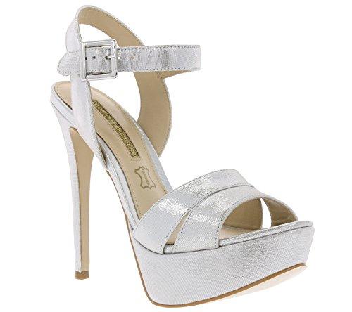 Buffalo Schuhe Echtleder Plateau High Heels Metallic Riemchen Silber, Größenauswahl:40