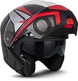 """Moto Helmets® F19 """"Gloss Black"""" - Casco da moto, casco pieghevole modulare flip-up integrale, full face cruiser, certificazione ECE, visiera a sgancio rapido XS - XL (53 - 62 cm)"""
