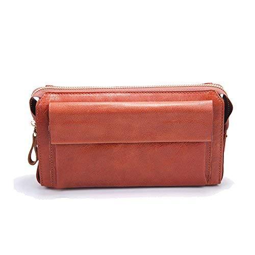 H&W Echtes Leder Clutch Portemonnaie Herren Organizer Reisebrieftasche Burgund#14 -