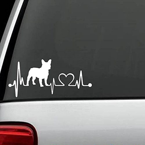 adesivo murale French Bulldog Heartbeat Lifeline Monitor Dog Decal Sticker ... Die Cut Decal Sticker For Windows, Cars, Trucks, Laptops, Etc (7.5 x 3.2 inches)