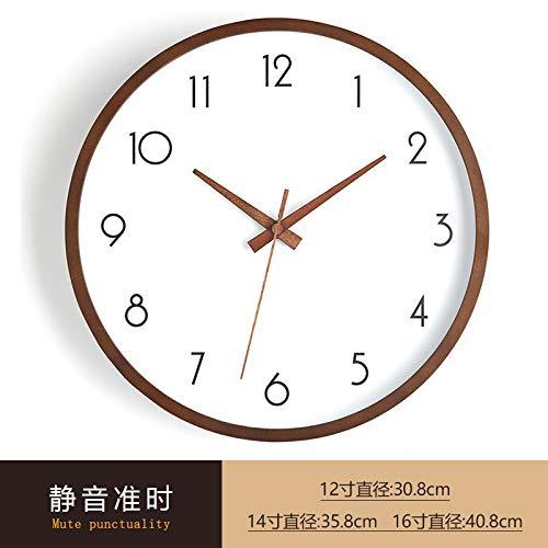 Die japanische Wohnzimmeruhr aus massivem Holz stellt eine einfache, geräuscharme Haushaltsuhr dar. 14-Zoll-Licht und luxuriöse große registrierte Uhr, 12 Zoll, Nussknacker-Schale - einfache Zahlen