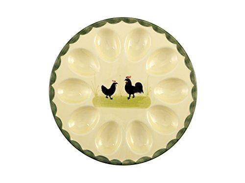 Coq et poule plat à œufs référence 1-3101 zeller céramique peinte à la ma