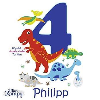 MissRompy Geburtstag Bügelbild Dinos (875) für dunkle und helle Stoffe Zahl groß Aufbügler Alter Dinosaurier Dinos T-Rex Bügelbilder Applikation Aufbügelbild