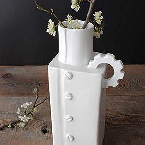 Rechteckige Vase aus handgefertigter Keramik – Mechanisches Design (13 x 27,5 x 9 cm)
