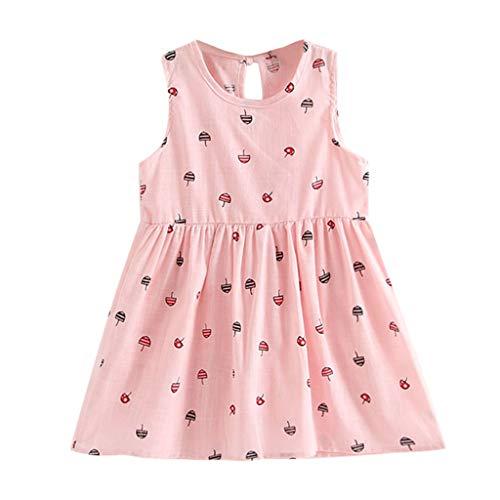 YWLINK Kleinkind MäDchen Sommer Prinzessin Kleid Mit Karikatur Regenschirm Drucken Baby Party ÄRmellose Bequem Süß Kleider Weste Kleid(Rosa,100)