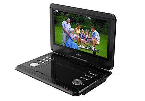 Reflexion DVD1203 tragbarer DVD-Player 12 Zoll (29,5 cm) mit hoher Auflösung (1.366 x 768) drehbarem Display und Kfz-Zubehör (USB, SD, AV, HD-Panel, Anti-Schock, Li-Polymer Akku, 12 Volt Adapter)