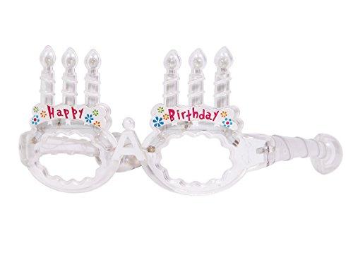 Blinkende LED Partybrille Happy Birthday Brille, wählen:transparent