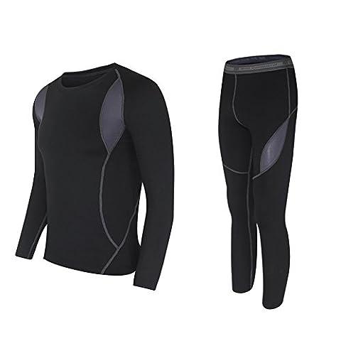 wildconqueror hommes Hot Dry Technologie Sous-vêtements thermiques pour haut et bas chaud élastique Sports d'extérieur Noir - Noir - moyen