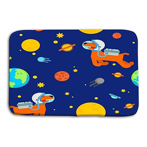 LIS HOME Küche Boden Bad Eingangstür Matten Teppich Hund Astronaut Raum Muster Haustier Raumfahrer Welpe Kosmonaut Kostüm Universum Texture Hund Astronaut Raum Muster Rutschfeste Badezimmermatten (Astronaut Hunde Kostüm)