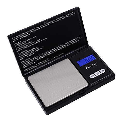 HBlfie Balance de Poche de Précision, Balance de Cusine, Balance de Bijoux avec Affichage LCD et Fonction Tare (Noir) ... (Noir2)