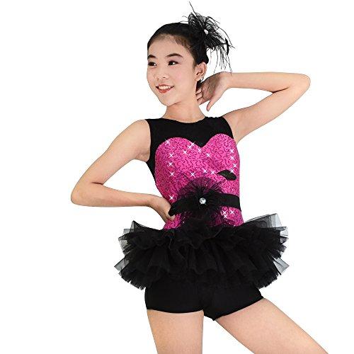 MiDee Mädchen Tank Top Illusion Pailletten Ballett Ballettröckchen Kostüm Tanz Outfits (Heißes Rosa, PA) (Erwachsene Cheerleading Outfits)