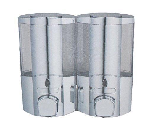Soap Shampoo Bathroom Shower Single Twin Duo Chrome Dispenser Touch Dispenser Wall Mounted (Duo Chrome Pattern 4, chrome)