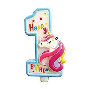 Partymane Unicorn Birthday Candle - First Birthday Party Supplies - Unicorn Themed Party Decorations (Blue)