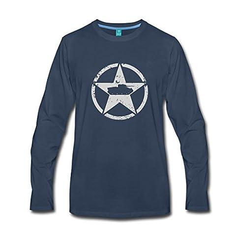 World Of Tanks Char Américain Sur Étoile T-shirt manches longues Premium Homme de Spreadshirt®, 4XL, bleu marine
