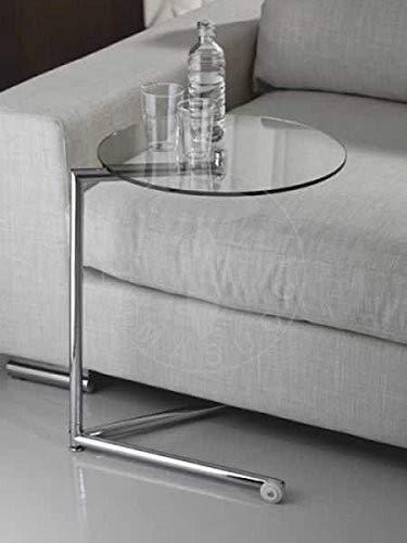 WINK DESIGN - Houston Bout de canapé à roulettes - métal chromé - Plateau en Verre