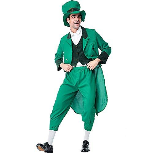 I TRUE ME St. Patrick's Day Goldgrün Leprechaun Kostüm Herren Steampunk Gothic Jacke Vintage viktorianischen Frack Smoking Uniform Halloween Kostüm - Patrick Pirat Für Erwachsene Kostüm