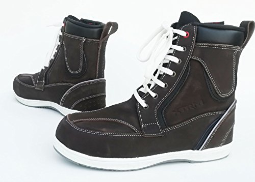 XTRM Scarpe per Motociclista 403 Stivali da Moto Sport Casual Lacci Sneaker Urbani Touring, Scarponcini di Pelle - Brown/White - 41/7