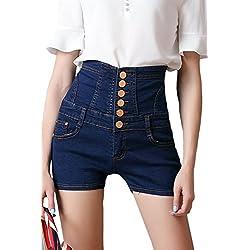 Mujeres Pantalones Cortos De Mezclilla Pantalones Cortos Vaqueros De Cintura Alta con Cordones Sblue XS